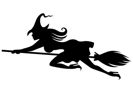 Vector illustrations of silhouette of witch on broomstick flying fast Vettoriali