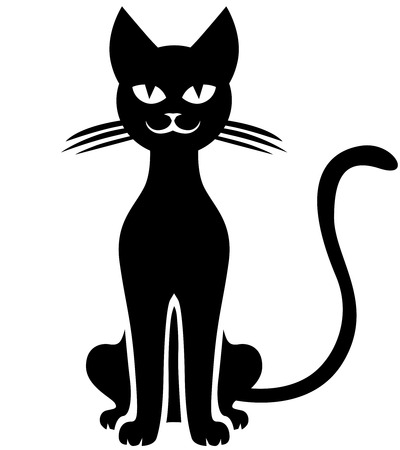 kitty: Vector illustrations of silhouette black cat smiling
