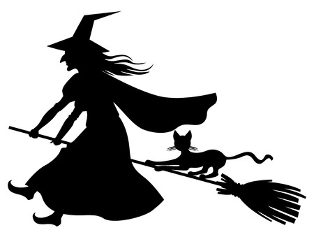 Vector illustrations of silhouette witch and cat flying on broomstick Vectores