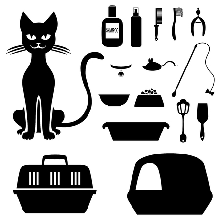 domestically: Vector illustrations of silhouette сat and set to care for her Illustration
