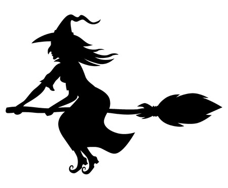 witch on broom: Vector illustrations of silhouette witch flying on broomstick