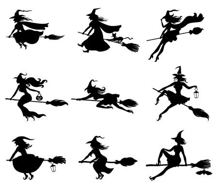 escoba: Ilustraciones del vector de la silueta brujas que vuelan en el set palo de escoba