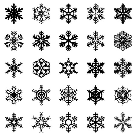 decor: Vector illustrations of snowflakes set
