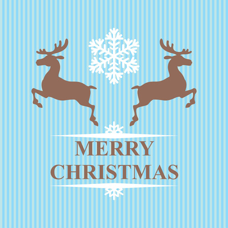 stripped: Vector illustrations of Christmas congratulatory symbol reindeers and snowflakes on stripped blue background Illustration