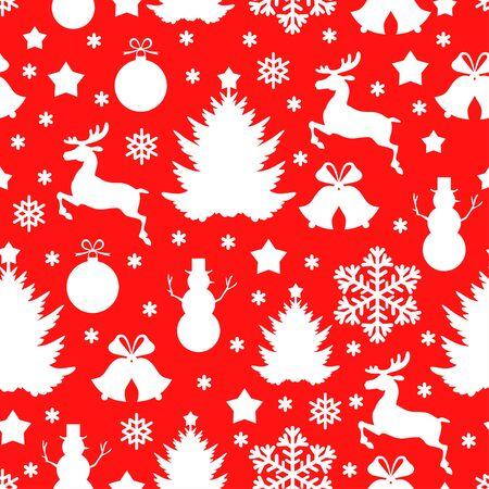 copo de nieve: ilustraciones de modelo rojo de Navidad sin fisuras con ciervos, abeto, copos de nieve, muñeco de nieve Vectores