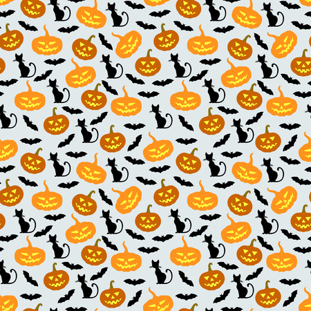 vegetable background: illustrations of Halloween pumpkins, bats and cats pattern seamless Illustration