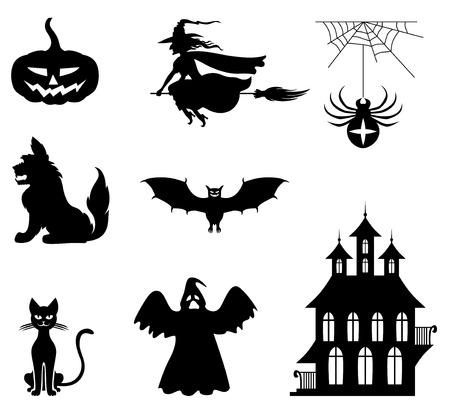 halloween castle: illustrations of Halloween silhouette set