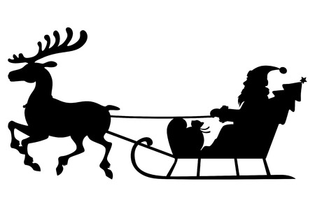 santa claus cartoon: illustrations of silhouette of Santa Claus sitting in deer sleigh