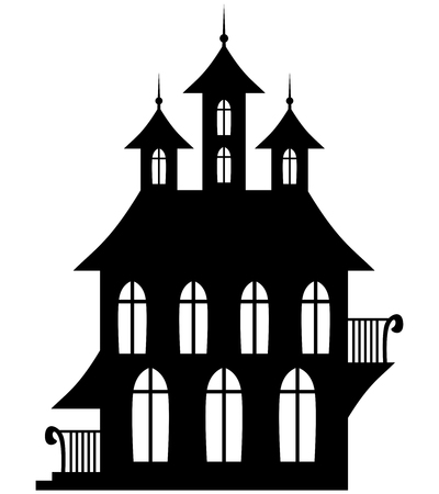 manor house: illustrations of silhouette Gothic house for Halloween Illustration