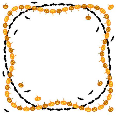 felicitaciones: ilustraciones de felicitación Frontera de Halloween con calabazas y vampiros
