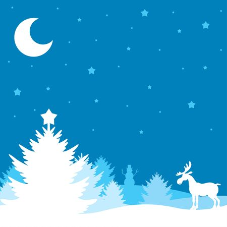 winter tree: illustrations of winter Christmas landscape with forest, tree, reindeer, snowman