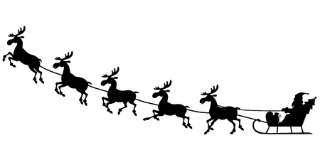 santa sleigh: illustrations of silhouette of Santa Claus sitting in a sleigh, reindeer who pull