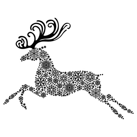 illustrations of Christmas reindeer silhouette consisting of snowflakes Иллюстрация