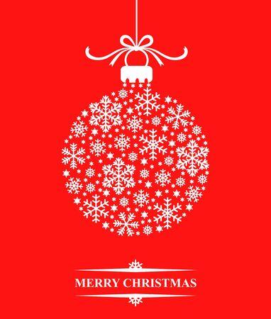 schneeflocke: Abbildungen der Weihnachtsgl�ckwunschkarte dekoriert Kugel aus Schneeflocken Illustration