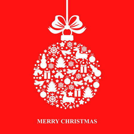 greetings card:   illustrations of Christmas card with decorative ball