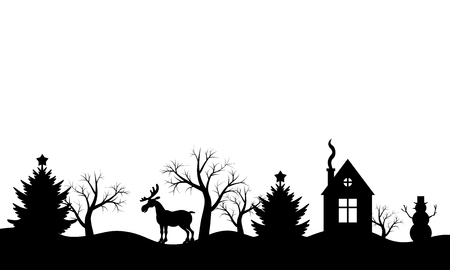 illustrations of Christmas silhouette winter landscape