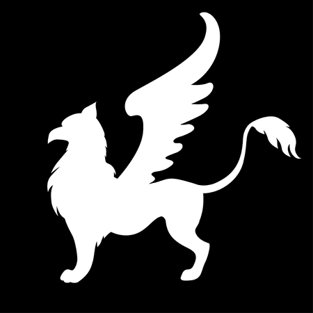 illustrations of silhouette winged mycology  griffon on black background Stock Illustratie