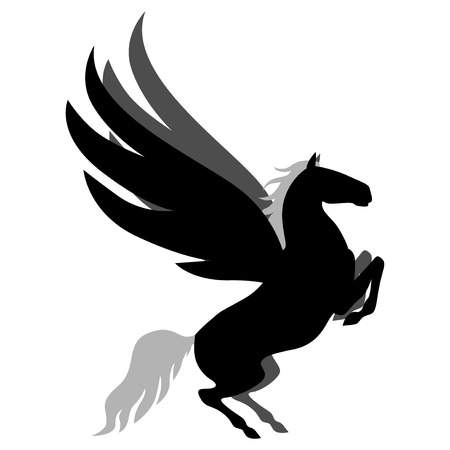 rear wing:  illustrations of silhouette winged horse Pegasus Illustration