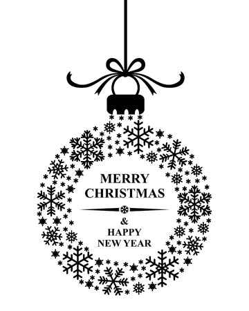 illustrations of Christmas congratulatory card decorated ball of snowflakes with merry Christmas text 免版税图像 - 46862222