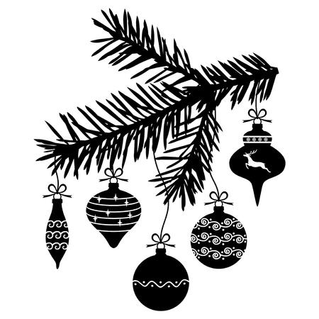 encaje: ilustraciones de adornos de Navidad colgando de una rama de abeto Vectores