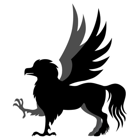 mycology:   illustrations of silhouette winged mycology  hippogriff Illustration