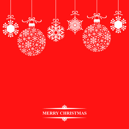 illustrations of background with hanging Christmas baubles and snowflakes on red background