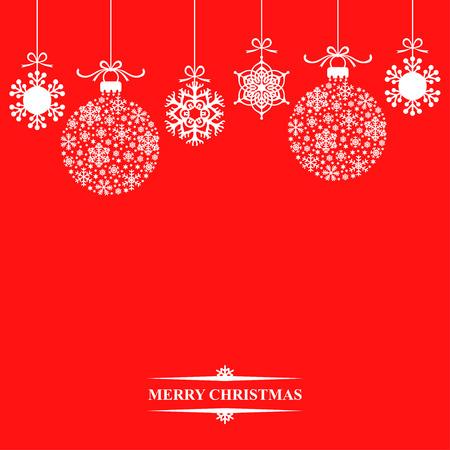 schneeflocke: Illustrationen der Hintergrund mit h�ngenden Weihnachtskugeln und Schneeflocken auf rotem Hintergrund Illustration