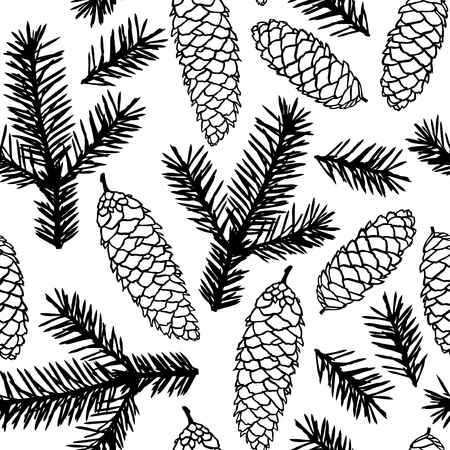 fir cones: illustrations of fir cones and fir branches pattern seamless
