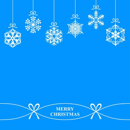 with snowflakes: illustrations of background with hanging Christmas snowflakes on blue background Illustration