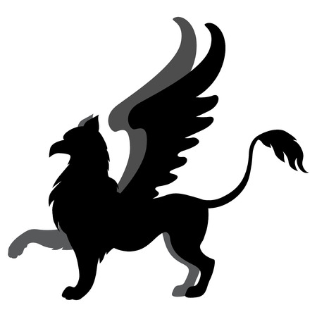 mycology: illustrations of silhouette winged mycology  griffon