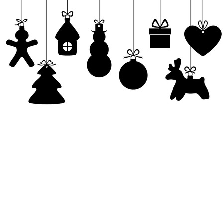 illustrations of background with silhouette of hanging Christmas baubles isolated