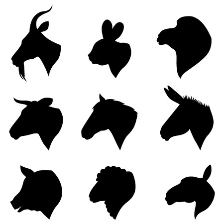 Vector illustrations of farm animals heads silhouettes set Çizim