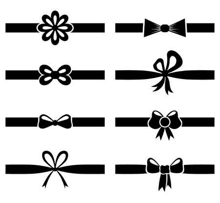 Vector illustrations of silhouette of bow on ribbon set
