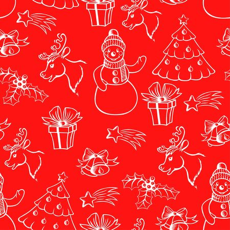 evening ball: Vector illustrations of cartoon Xmas pattern seamless on red background