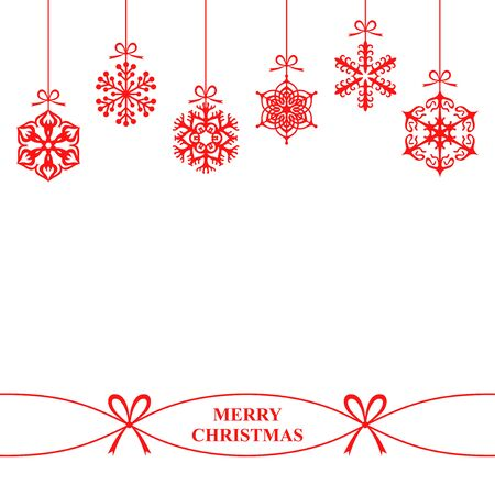 Vector illustrations of background with hanging Christmas snowflakes on white background 免版税图像 - 47658465