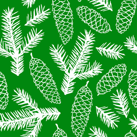 christmas tree branch: Vector illustrations of fir cones and fir branches pattern seamless on green background