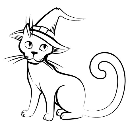 Vector isolated illustrations of cartoon Halloween cat in hat Illustration