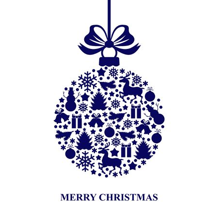 blue christmas background: Vector illustrations of Christmas card with decorative blue ball