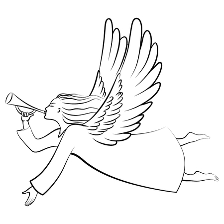trumpet vector: A silhouette of a contour Christmas Angel Blowing a trumpet