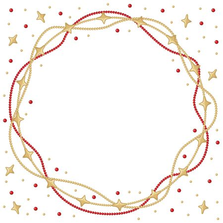 congratulatory: Vector illustrations of Christmas congratulatory round frame with garlands of gold and red beads