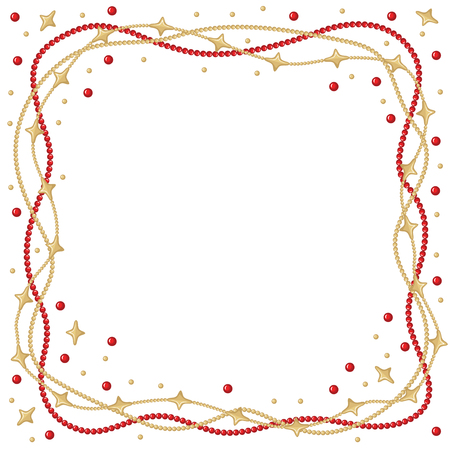 congratulatory: Vector illustrations of Christmas congratulatory frame with garlands of gold and red beads