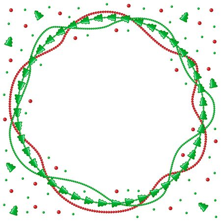 beads: Vector illustrations of Christmas congratulatory round frame with garlands of green fir and beads