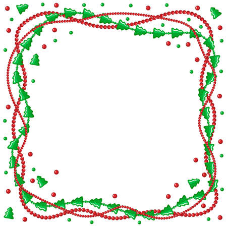 congratulatory: Vector illustrations of Christmas congratulatory frame with garlands of green fir and beads Illustration