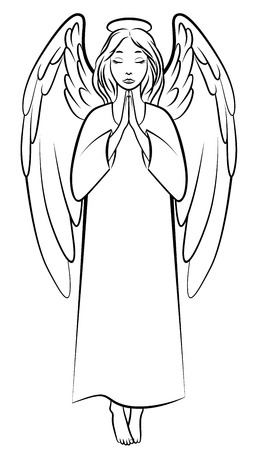halo angel: Vector illustrations of contour praying angel