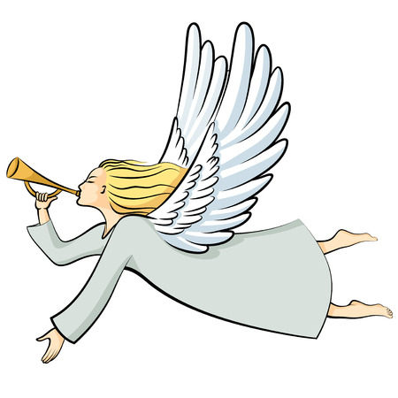 Vector illustrations of cartoon Christmas Angel Blowing a trumpet