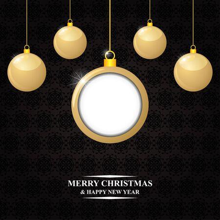 congratulatory: Vector illustrations of Christmas congratulatory card with hanging gold balls on decorative dark background Illustration