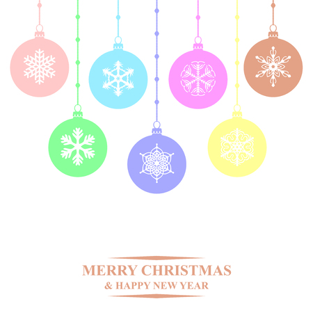 evening ball: Vector illustrations of multicolor Christmas balls hanging on white background