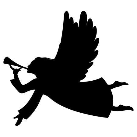 Vector illustrations of silhouette Christmas Angel Blowing a trumpet