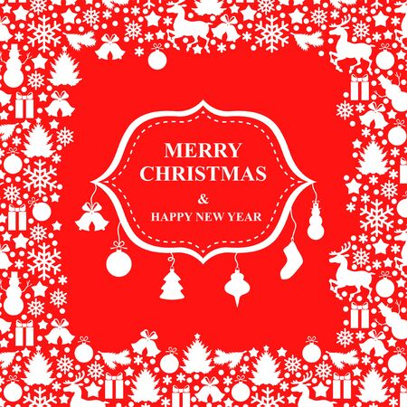 surrounded: Vector illustrations of Christmas card with greeting sign surrounded baubles Illustration