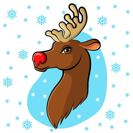 red nose: Vector illustrations of cartoon Christmas muzzle reindeer with red nose on snowflakes background